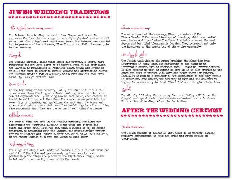 Jewish Wedding Program Templates Free