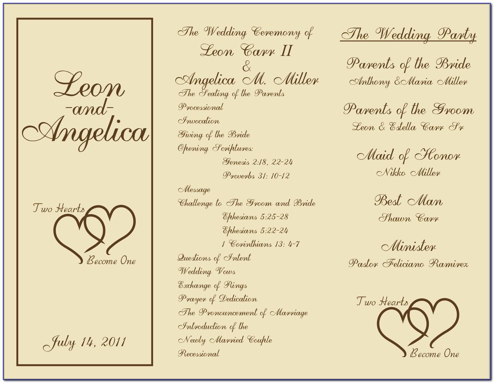Jewish Wedding Program Wording Samples