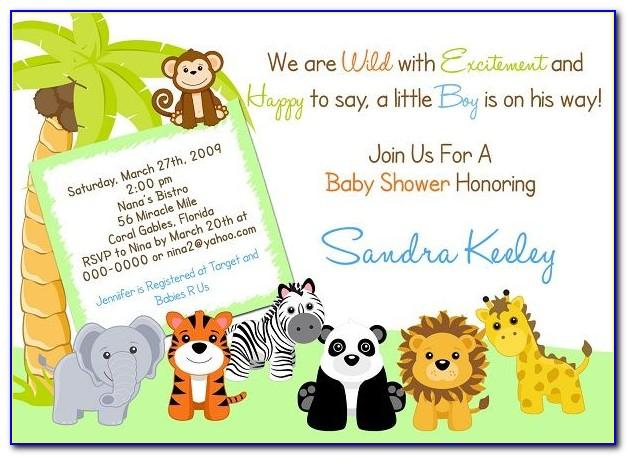 Jungle Baby Shower Invitations Free Template