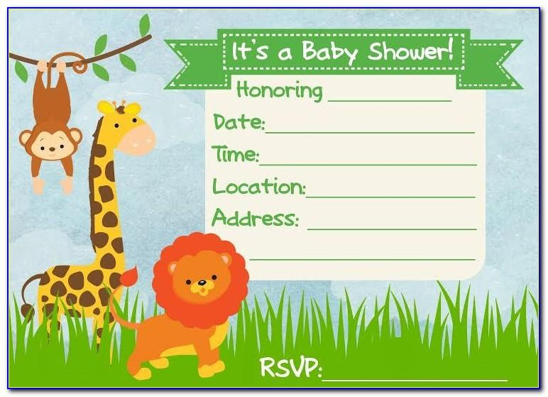 Jungle Theme Baby Shower Invitations Free Templates