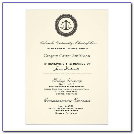 Law School Graduation Invitations Templates