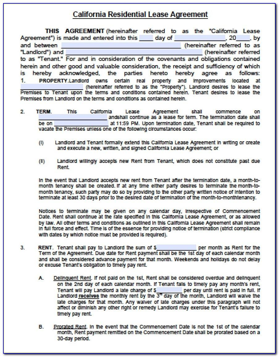 Lease Agreement Template California Free
