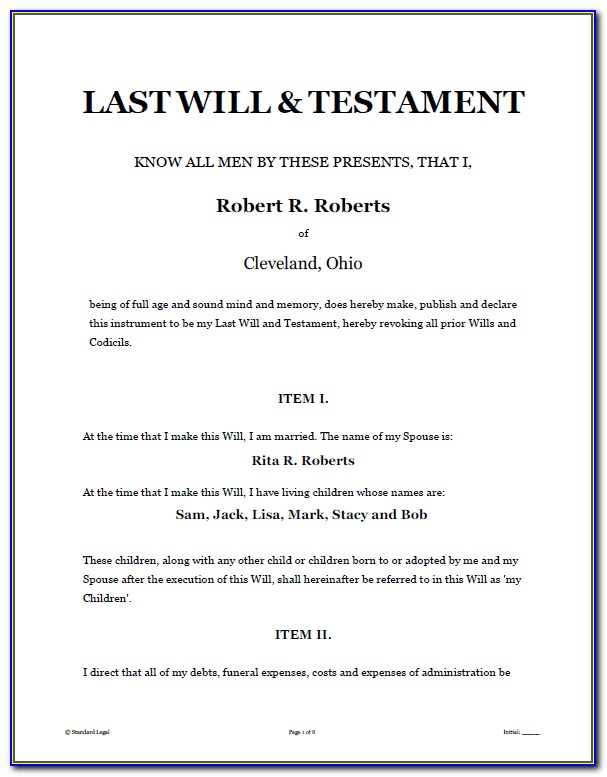 Legal Templates For Wills