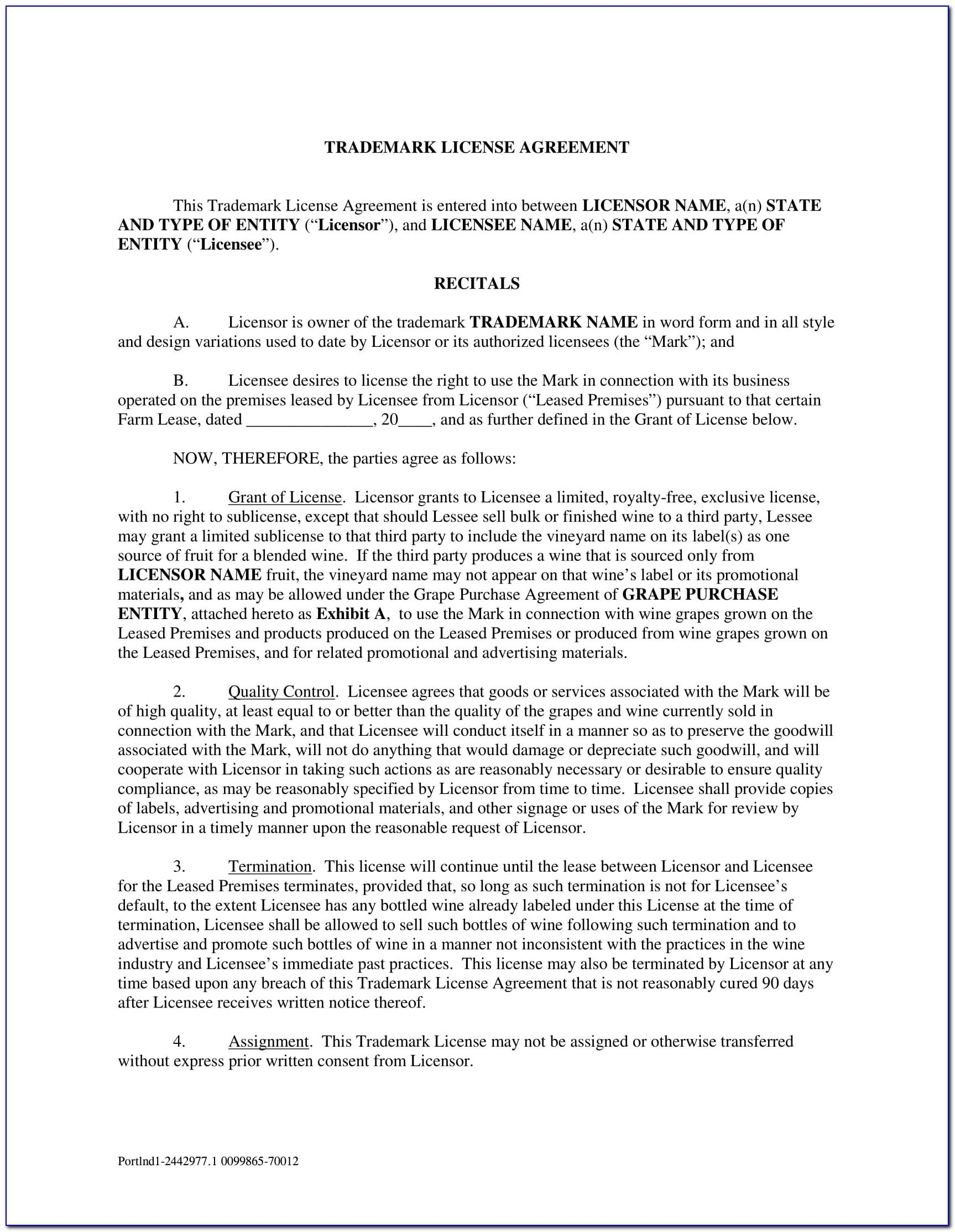 Licensing Agreement Template Free