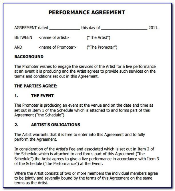Live Performance Contract Template Free