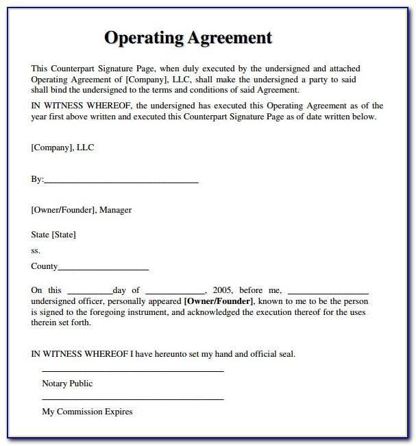 Llc Operating Agreement Free Template