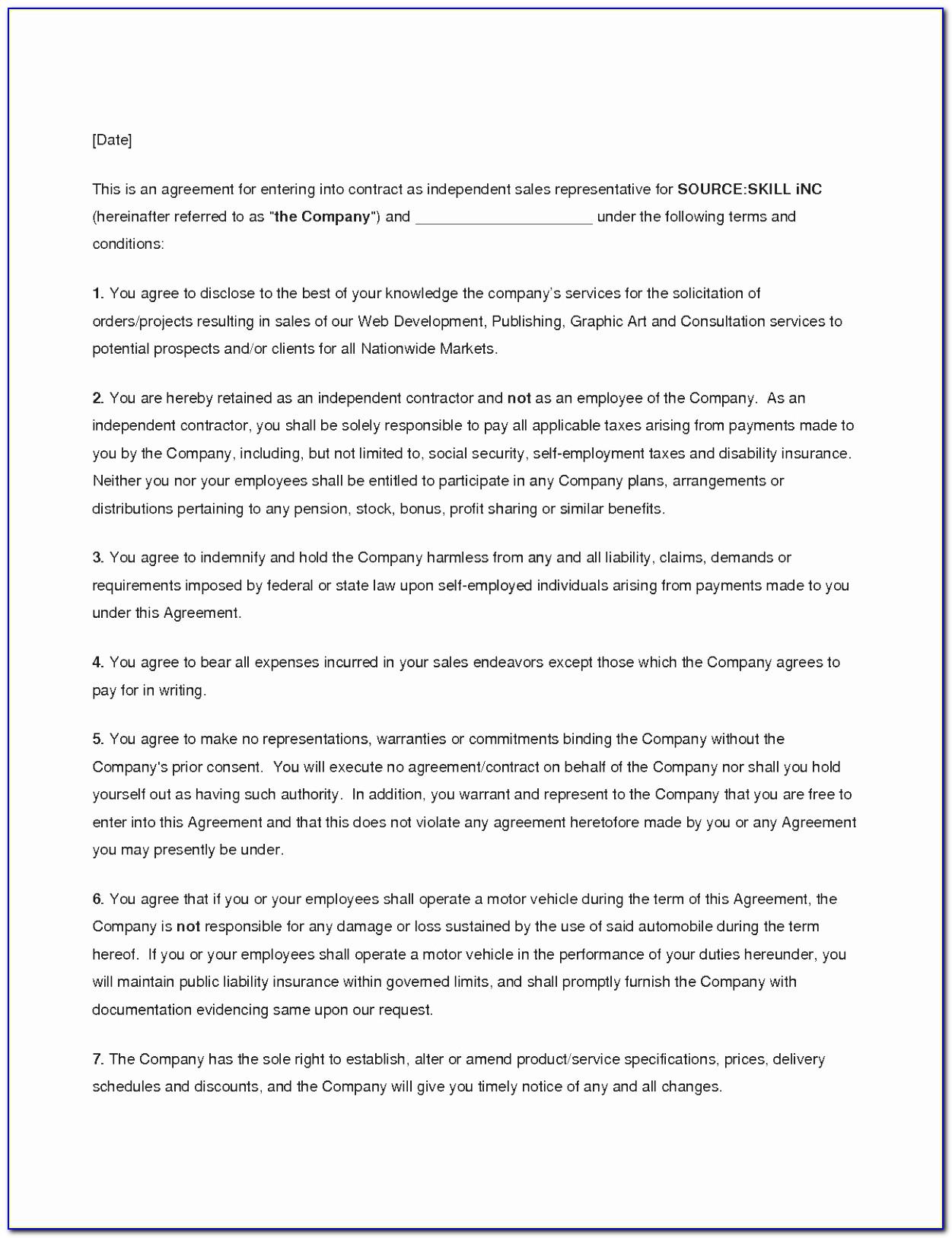 Manufacturer Representative Agreement Template