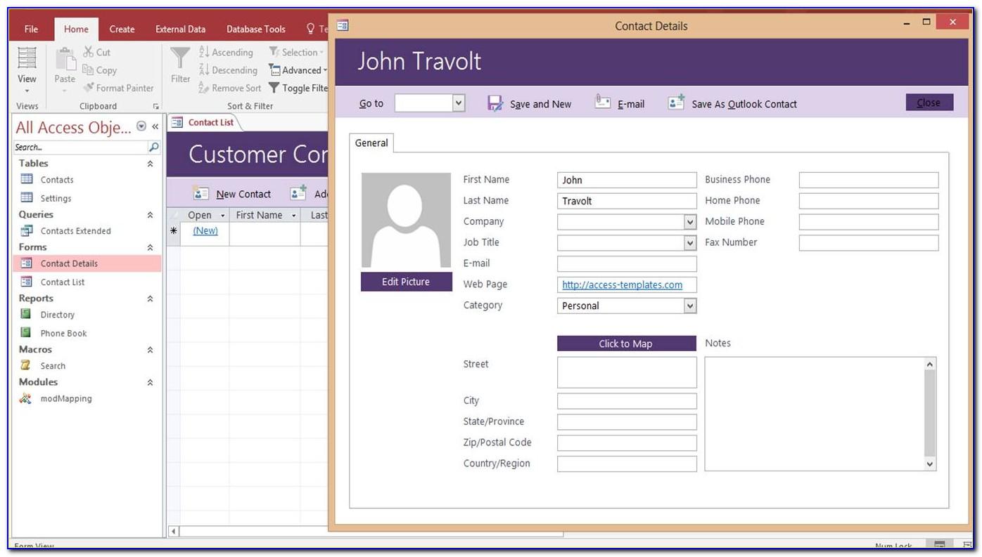 Microsoft Access Customer Database Template