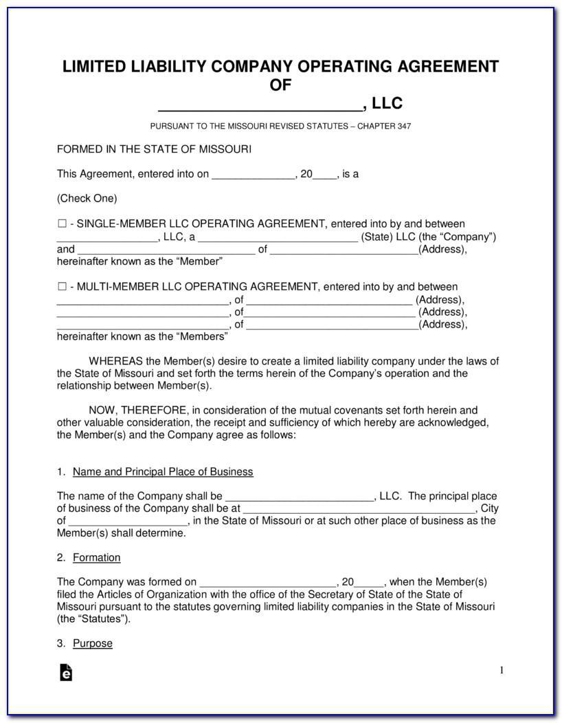 Missouri Llc Operating Agreement Template