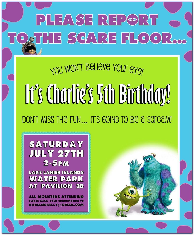 Monsters Inc Birthday Invitation Template Free
