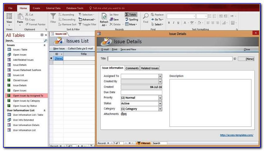 Ms Access Issues Database Template