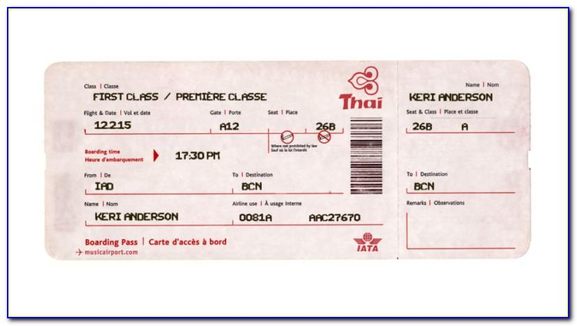 Old Fashioned Airline Ticket Template