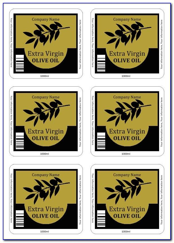 Olive Oil Bottle Label Templates Free