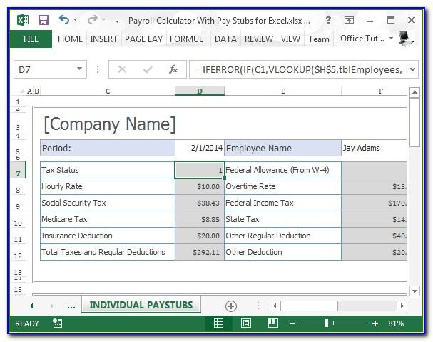 Pay Stub Template With Calculator Excel