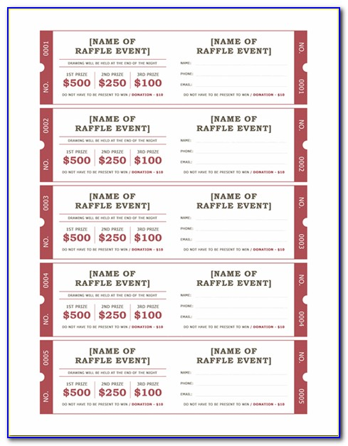 Perforated Raffle Ticket Template