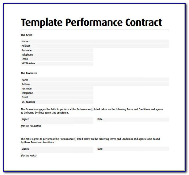 Performance Agreement Template Free