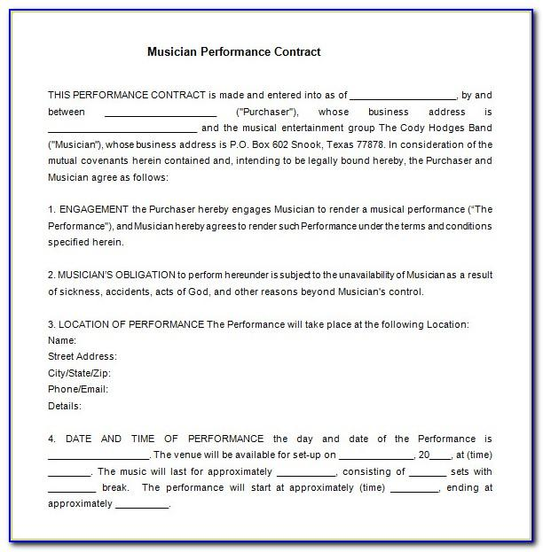 Performance Contract Template Uk Free