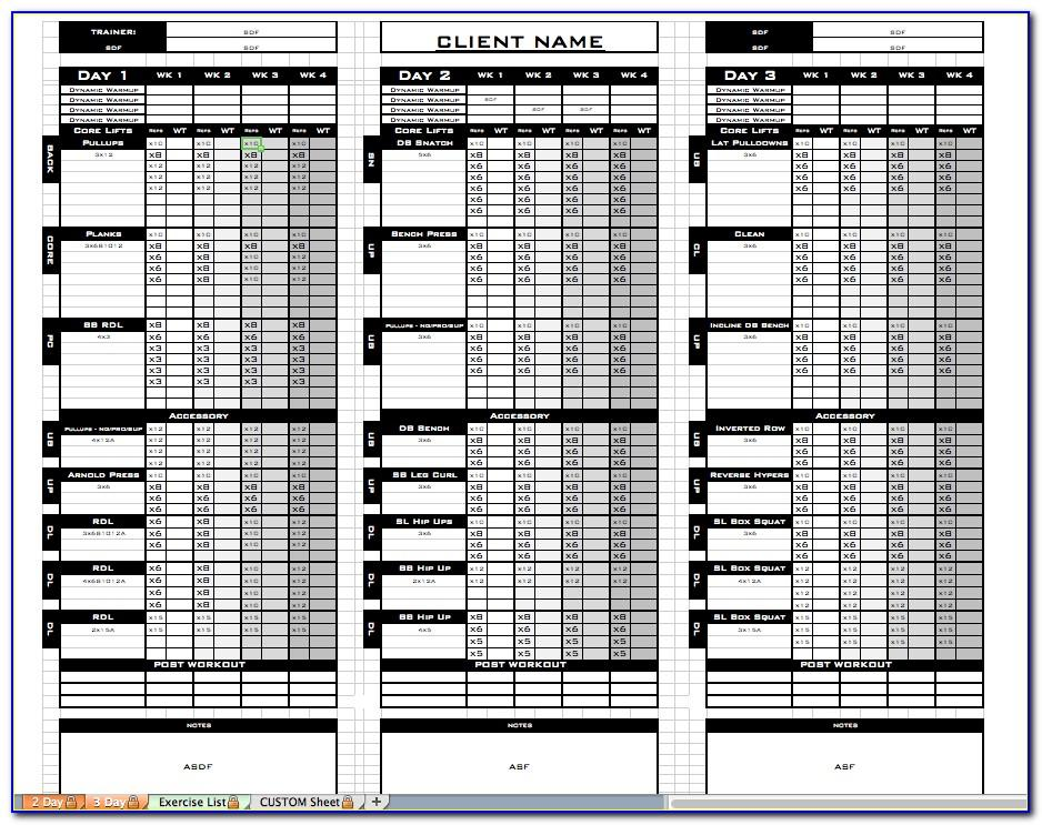 Personal Trainer Calendar Template
