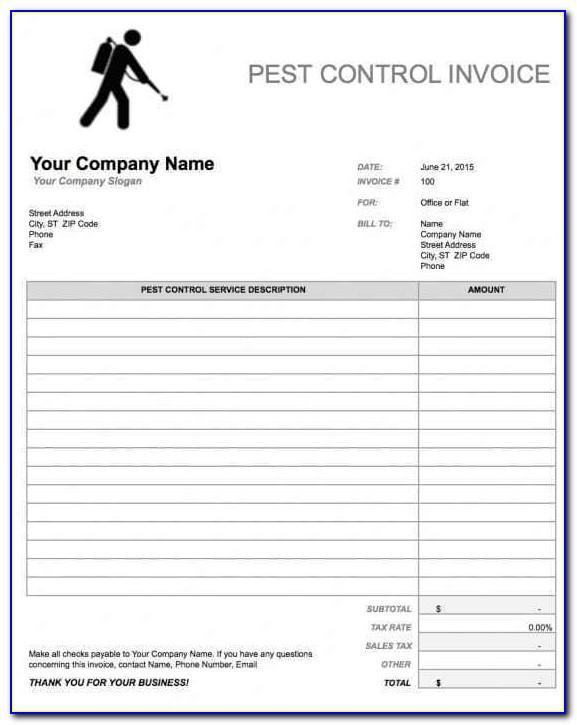 Pest Control Template Invoice