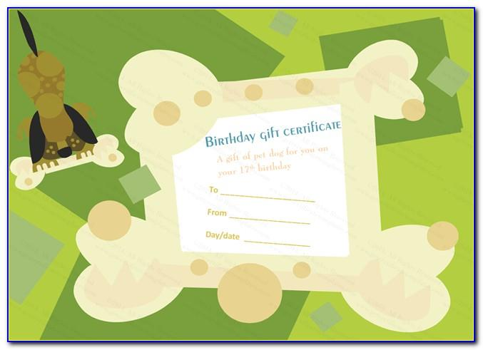 Pet Gift Certificate Template Free
