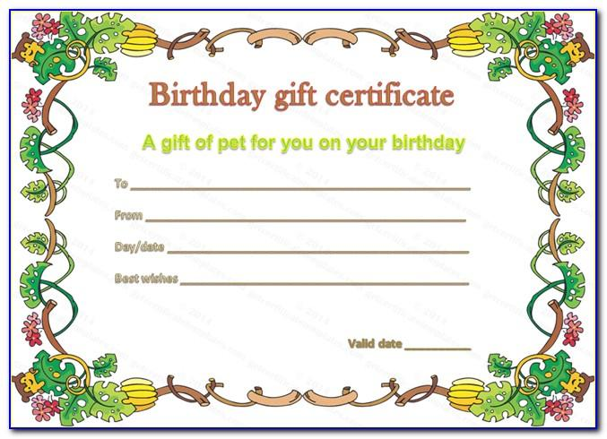Pet Gift Certificate Template