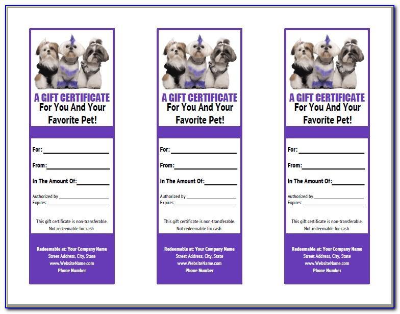 Pet Grooming Gift Certificate Template
