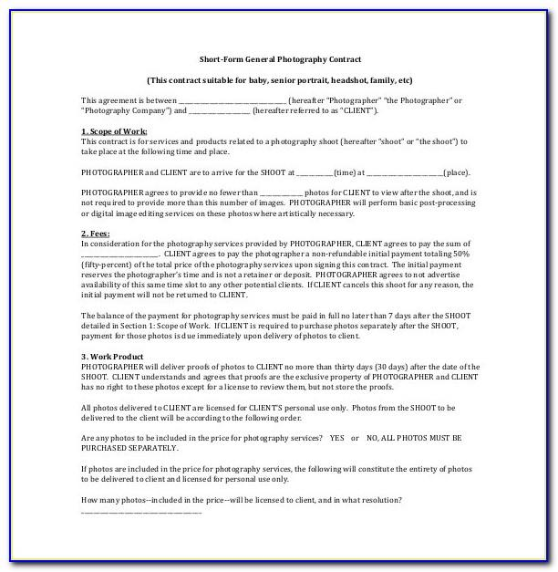 Photography Consent Form Example