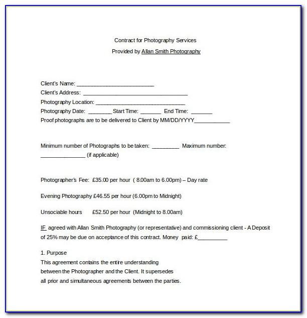 Photography Service Contract Form