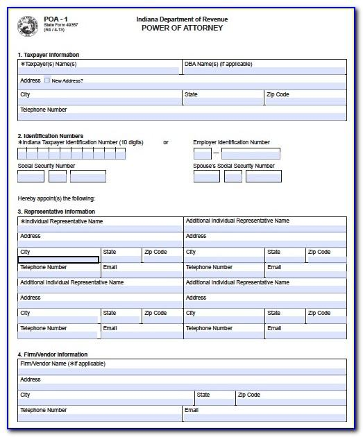 Power Of Attorney Form Indiana Template