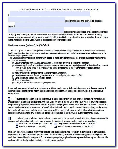 Power Of Attorney Template Indiana