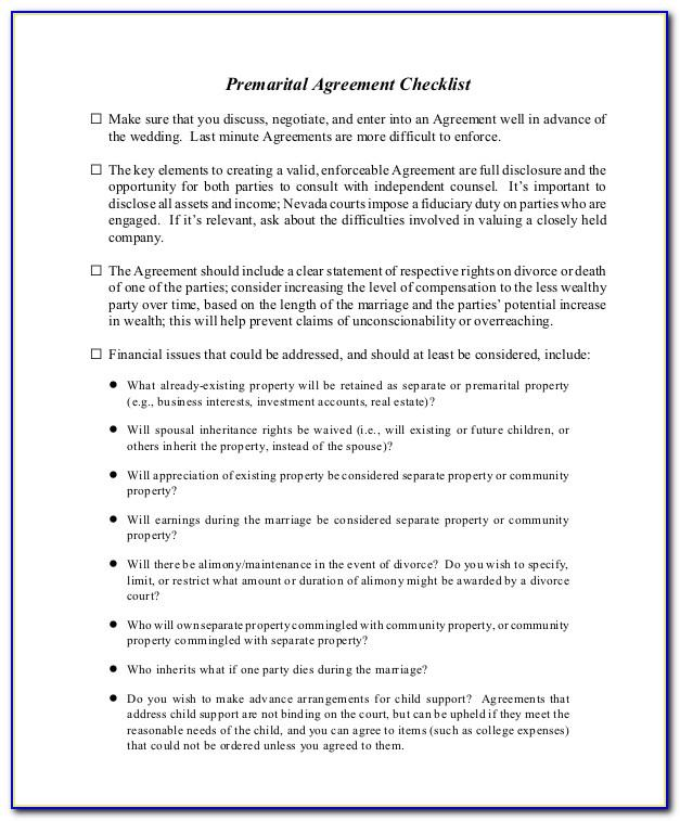 Prenuptial Agreement Template New York