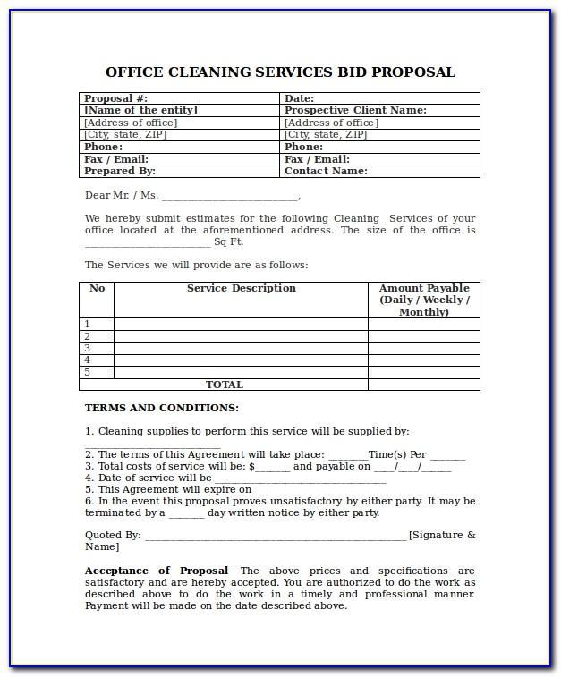 Pressure Washing Bid Proposal Template