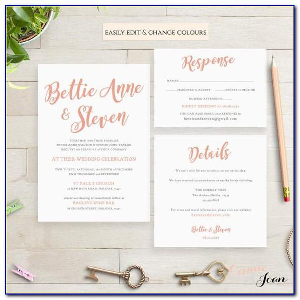 Printable Wedding Invitation Templates Etsy
