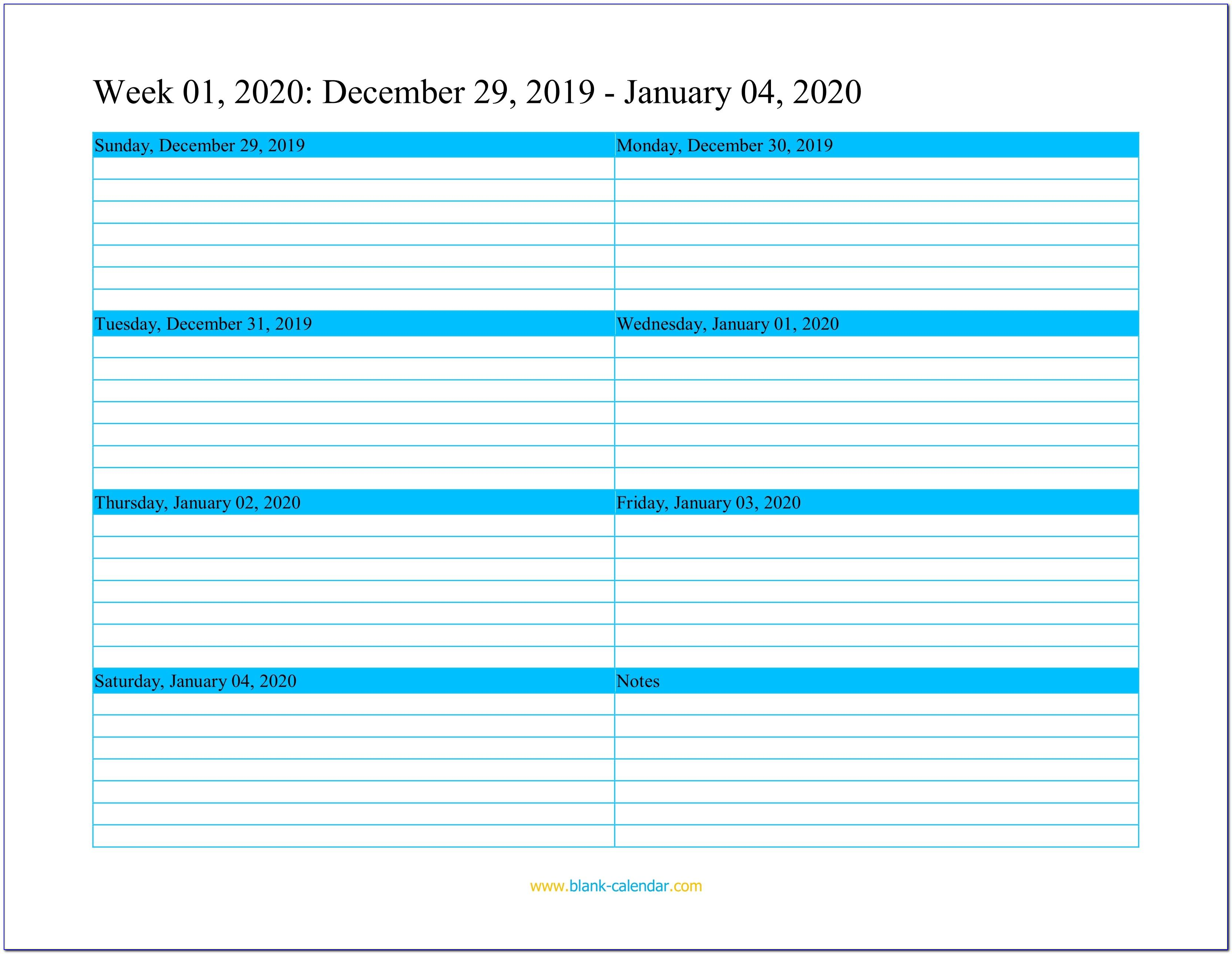 Printable Weekly Appointment Calendar Template