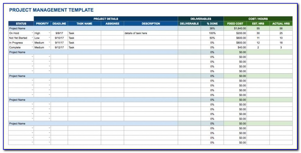 Project Manager Sheet Template