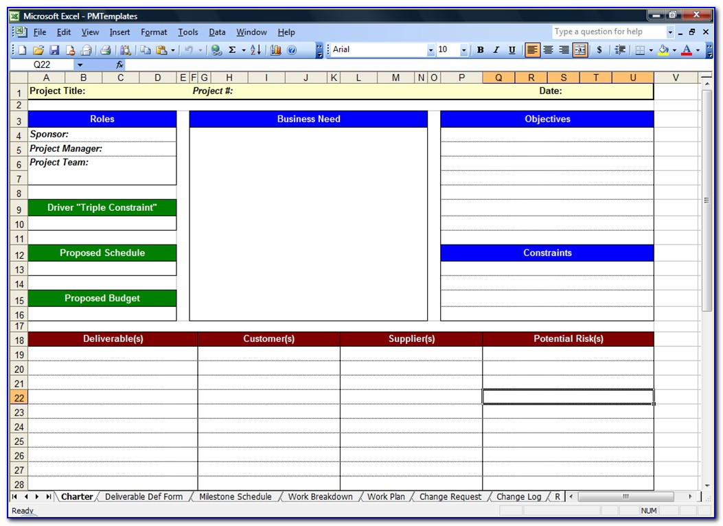 Project Manager Spreadsheet Templates