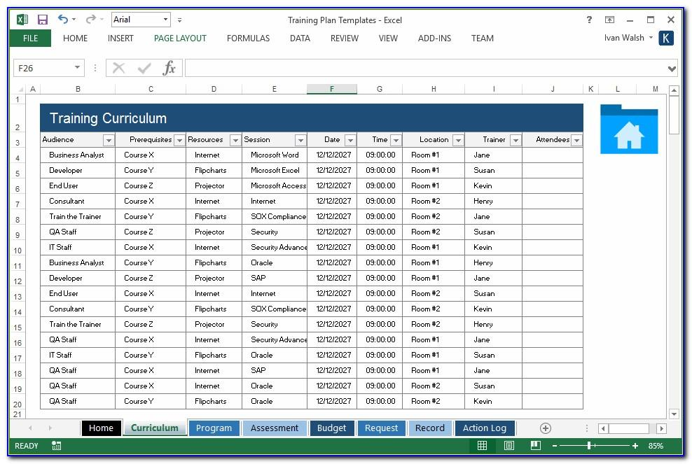 Project Training Schedule Template Excel