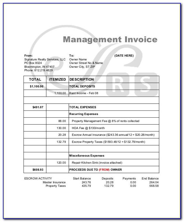 Property Management Invoice Template Free