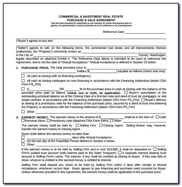 Purchase And Sale Agreement Template Ontario