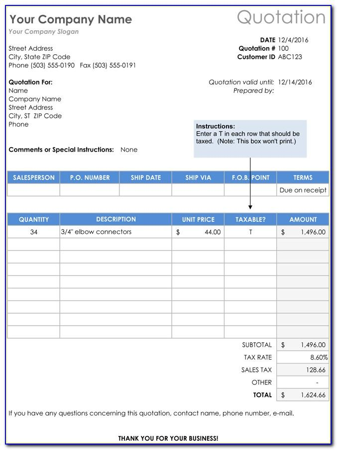 Quotation Template Doc Free Download