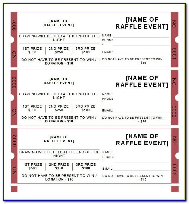 Raffle Tickets Templates Word