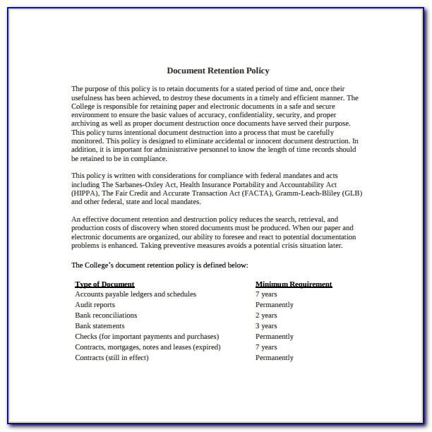 Record Retention Destruction Policy Template