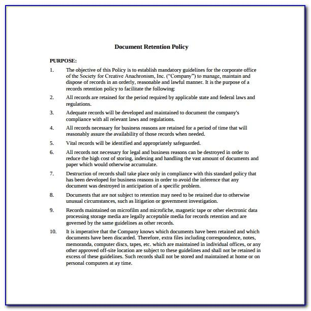 Records Management Retention Policy Template