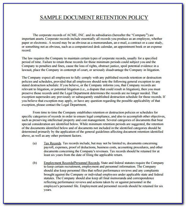 Records Retention Policy Example