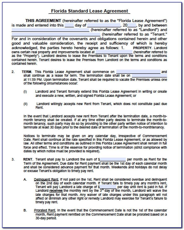 Rent Agreement Form Florida