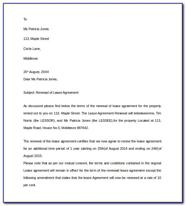 Rental Renewal Agreement Template