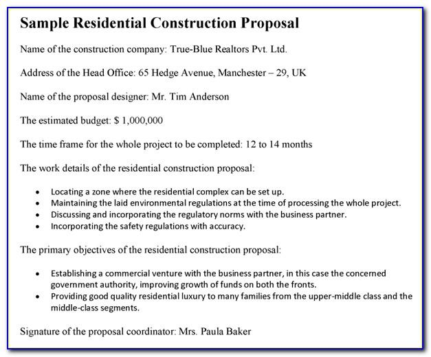 Residential Construction Request For Proposal Template