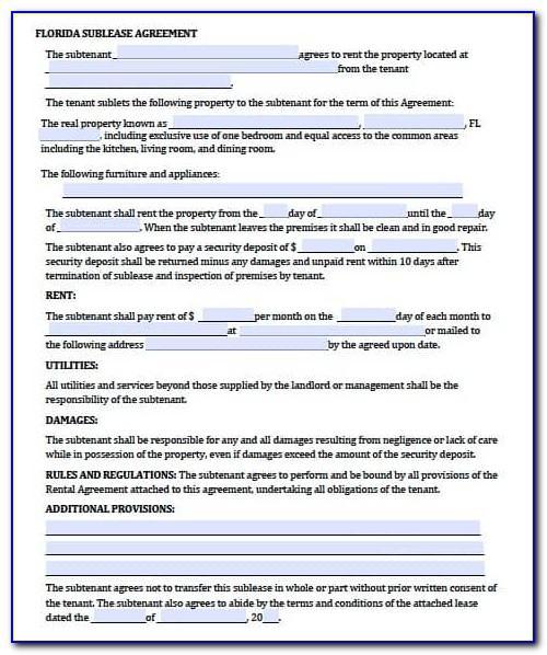 Residential Rental Agreement Florida Template