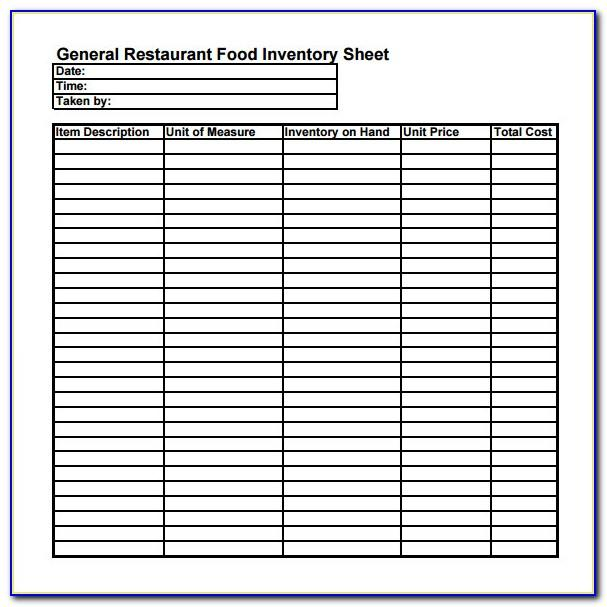 Restaurant Inventory Sheet Sample