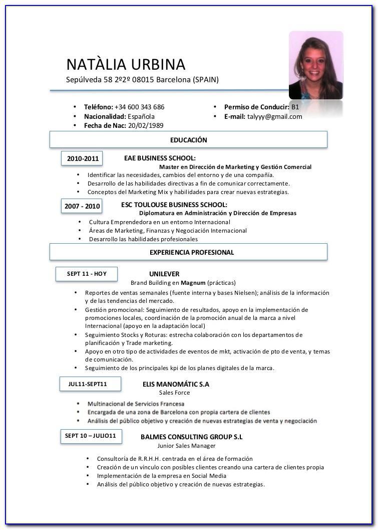 Resume Template En Espanol